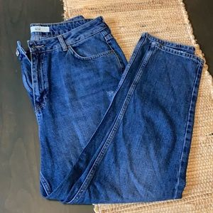 Topshop Distressed Moto Mom Jeans Size 34/30